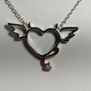 Jewelry - Sterling Silver Naughty & Nice Heart Necklace